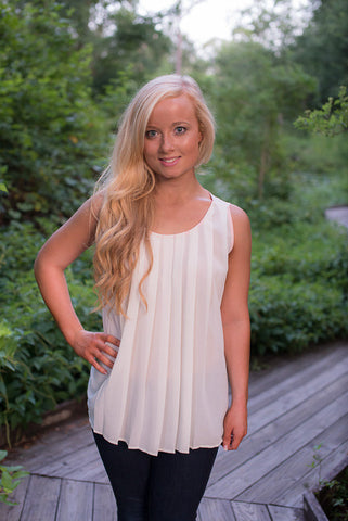 Pleats to Meet You Tank, Ivory - Two Elle's Boutique