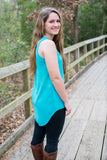 Perfect Tank, Ocean Blue - Two Elle's Boutique