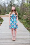 Medallion Print Strapless Dress, Blue and Pink - Two Elle's Boutique  - 2