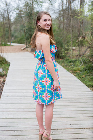 Medallion Print Strapless Dress, Blue and Pink - Two Elle's Boutique