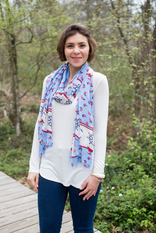 Nautical Print Scarf - Two Elle's Boutique