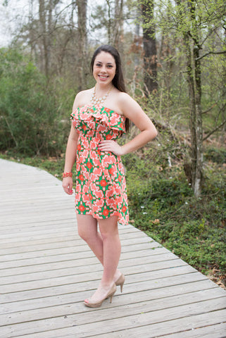 Medallion Print Strapless Dress, Coral and Green - Two Elle's Boutique