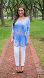 Fabulous Long Sleeve Tee, Blue/Peach Chevron - Two Elle's Boutique  - 4