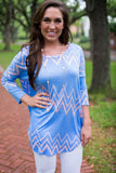 Fabulous Long Sleeve Tee, Blue/Peach Chevron - Two Elle's Boutique  - 2