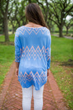 Fabulous Long Sleeve Tee, Blue/Peach Chevron - Two Elle's Boutique  - 5