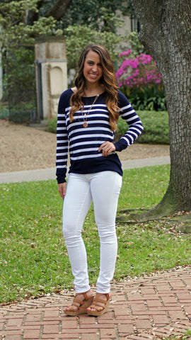 Sail Away Stripe Sweater - Two Elle's Boutique  - 1
