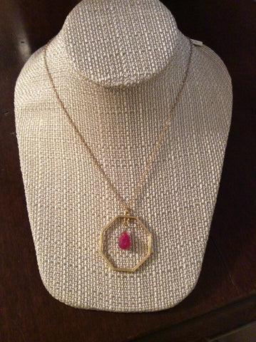 Gold Octagon With Pink Drop Necklace - Two Elle's Boutique