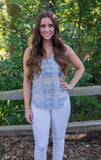 Grey Snakeskin Tank - Two Elle's Boutique  - 1