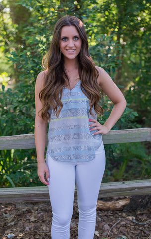 Grey Snakeskin Tank - Two Elle's Boutique