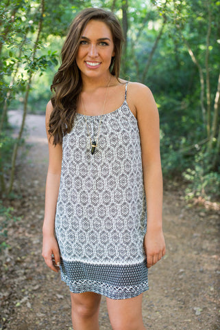Black and White Aztec Dress - Two Elle's Boutique  - 1