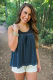 Cotton Navy Crocheted Tank - Two Elle's Boutique