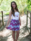 Fuchsia Chevron Woven Skirt - Two Elle's Boutique  - 3