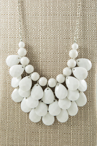 Layer Beaded Necklace, White - Two Elle's Boutique  - 1