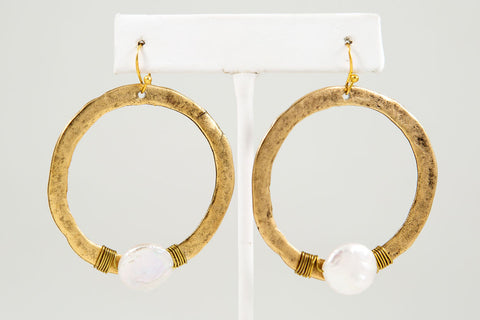 Circle Earring with Stone, Large - Gold or Silver - Two Elle's Boutique