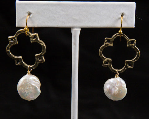 Vintage Medal Earrings, Gold or Silver - Two Elle's Boutique
