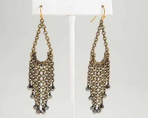 Tassel Chain Earrings, Gold or Silver with Beads - Two Elle's Boutique