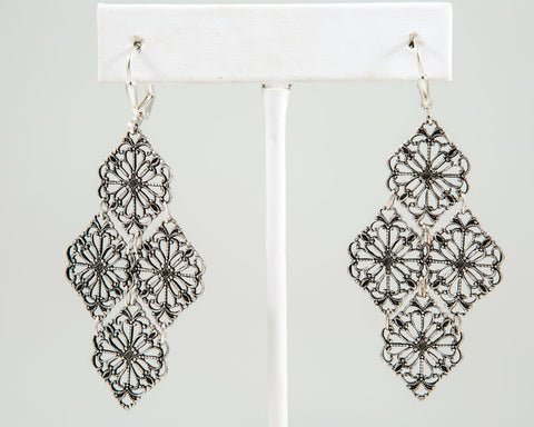 Filigree Earrings, Brass or Silver - Two Elle's Boutique  - 1