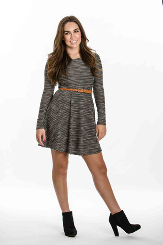 Long Sleeve Dress With Belt - Two Elle's Boutique