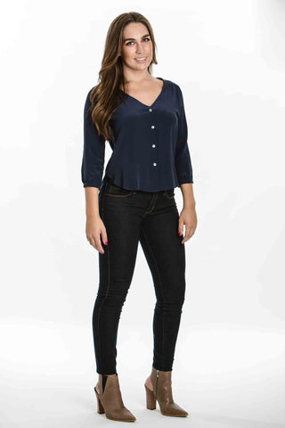 Candice Silk Shirt, Navy by Amour Vert - Two Elle's Boutique