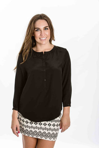 Kelly Silk Blouse (Black) by Amour Vert - Two Elle's Boutique