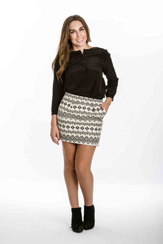 Black and White Aztec Print Skirt by Freeway - Two Elle's Boutique