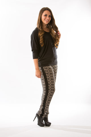 Taupe Printed Pants by Olive & Oak - Two Elle's Boutique