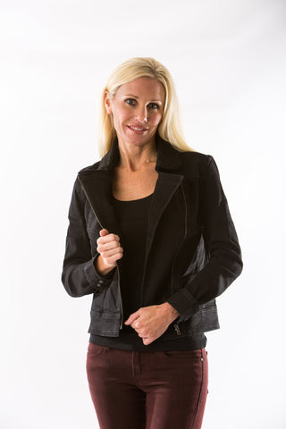 Moto Jacket in Washed Black by Articles of Society - Two Elle's Boutique