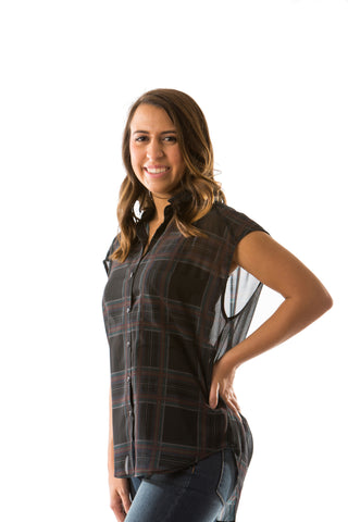 Mercy Sheer Button Down Top In Ebony Plaid By Black Swan Two