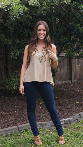 Mocha Lace Tank - Two Elle's Boutique  - 1