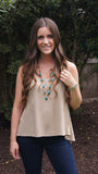 Mocha Lace Tank - Two Elle's Boutique  - 3