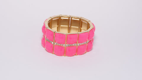 Fuchsia Stone Bracelet with Diamonds - Two Elle's Boutique