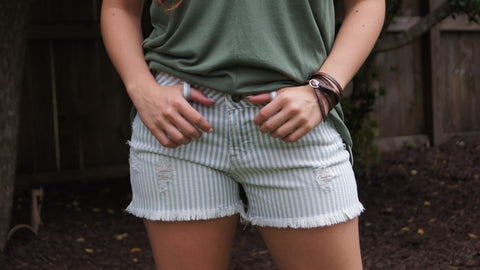 Articles of Society Distressed Denim Shorts, Stripes - Two Elle's Boutique