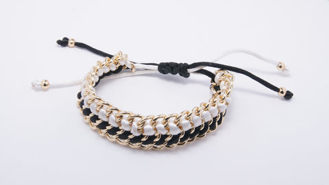 Ribbon Braided Chain Bracelet, Black & White - Two Elle's Boutique