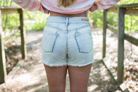 Articles of Society High Rise White Wash Shorts - Two Elle's Boutique