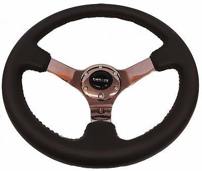 "NRG 3"" Deep Dish Steering Wheel Black Leather with Red Stitch Rose Gold ST-036RG"