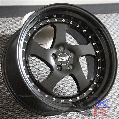 (4) MATTE BLACK ESR SR02 WHEELS 17X8.5 5X114.3 RSX TSX 240SX 300ZX ACCORD CIVIC