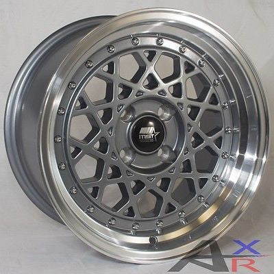 15x8.0 MST Fiori 4x100 20 Gunmetal Wheel fit Honda Toyota Mazda VW Kia In set(4)