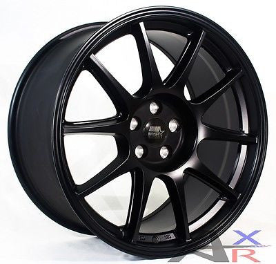 MST MT06 18x9.5 5x114.3 +38 Matte Black Wheels Fits Veloster Mazda Speed 3