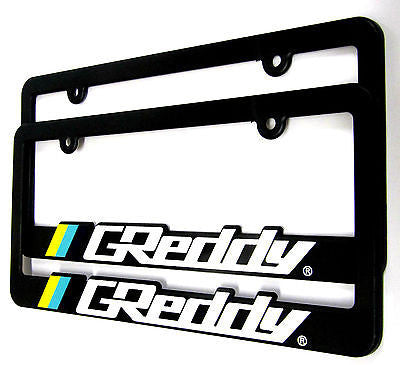 GREDDY TWO LICENSE PLATE FRAME AUTHENTIC ABS PLASTIC UNIVERSAL FITMENT JDM