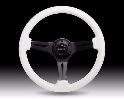 "NRG 2"" Deep Dish WHITE Wood Grain Steering Wheel with BLACK 3-Spoke Center 350mm"
