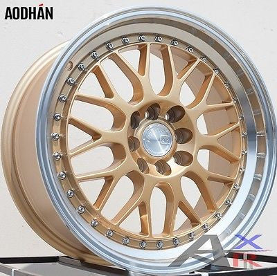 17x8 AODHAN AH02 Wheels 8H 4x100/114.3 et +35  Gold with machined lip