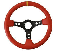 "NRG 350MM 3""DEEP DISH 6-HOLES STEERING WHEEL RED LEATHER YELLOW STRIPE/STITCHES"