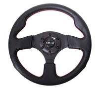 NRG RST-012R-RS Steering Wheel 320mm Race / Sport Type-R Black Leather Red Stitc
