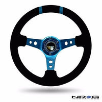 NRG Steering Wheel Deep Dish 350mm Black Suede / Blue Spokes & Double Blue Mark