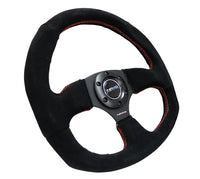 NRG 320mm RACING STEERING WHEEL BLACK SUEDE RED STITCH & OVAL BOTTOM REINFORCED