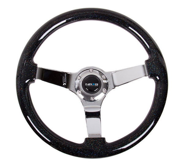 "NRG 3"" Deep Dish Steering Wheel 350mm Black Sparkle Wood (Chrome Center Spoke)"