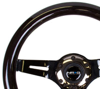 "NRG 310MM 2""DEEP DISH 6-HOLES STEERING WHEEL BLACK WOOD GRIP BLACK CHROME SPOKES"
