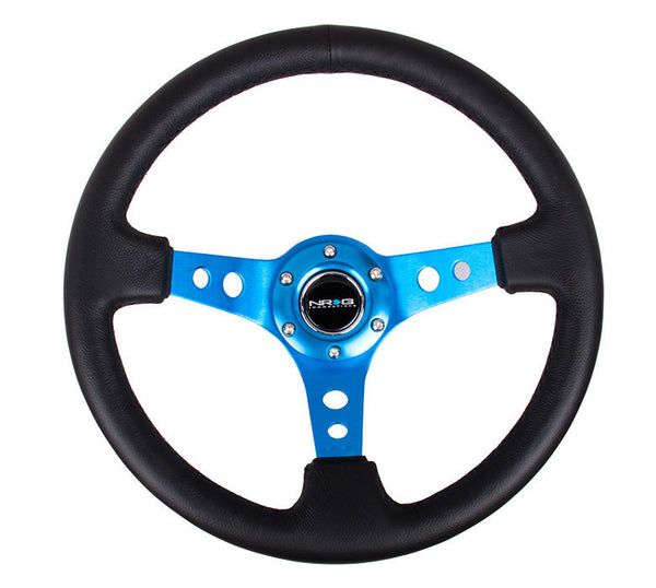 "350MM 3"" DEEP DISH BLUE SPOKE BLACK PREMIUM LEATHER  REINFORCED RST-006BL"