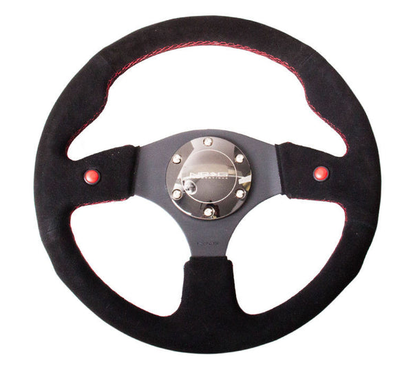 NRG STEERING WHEEL 320MM SPORT SUEDE W/ 2 RED BUTTON REINFORCED VERSION RST-007S