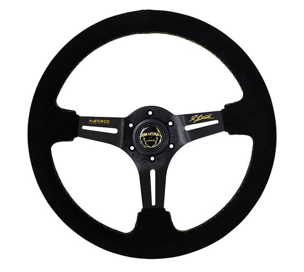 "NRG -Black Suede Steering Wheel 3"" Deep 350mm w/ Gold Stitch, Ryan Signature"